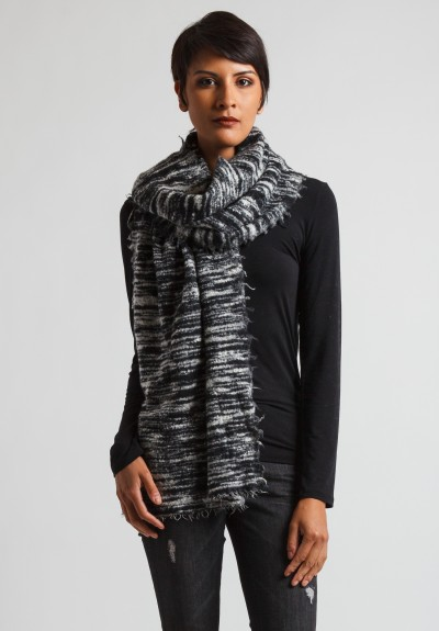 Faliero Sarti Long Felted Scarf in Black/White