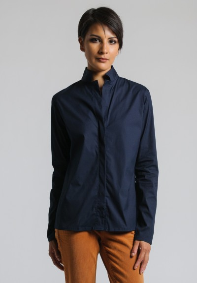 Lareida Stretch Cotton Shirt in Dark Navy