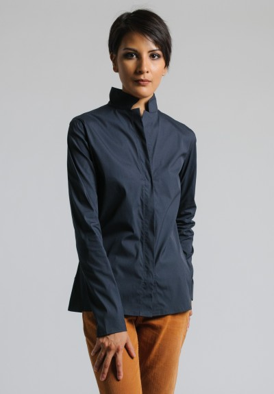 Lareida Stretch Cotton Shirt in Dark Grey