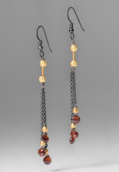 Greig Porter 3 Granet & Oxidized Silver Drop Earrings