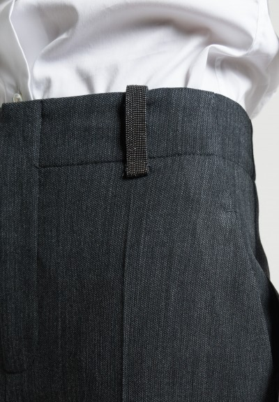 Brunello Cucinelli Wool Cropped Pants in Charcoal