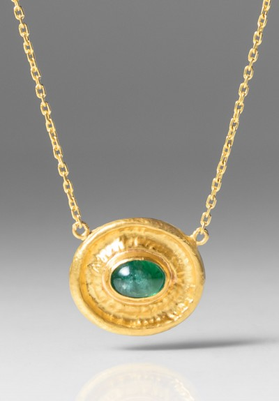 Lika Behar Oval Emerald Pendant Necklace