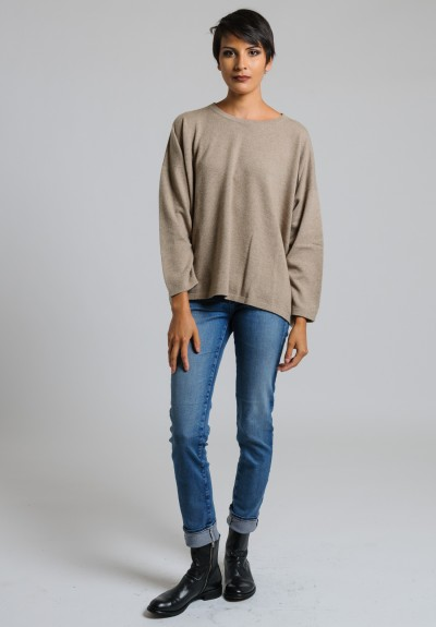 Hania Cashmere Short Crew Neck Sweater in Dark Natural