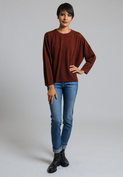 Hania Cashmere Short Crew Neck Sweater in Red Grouse