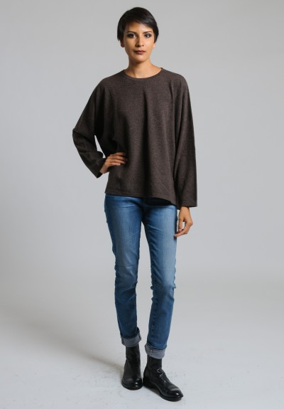 Hania Cashmere Short Crew Neck Sweater in Porcupine