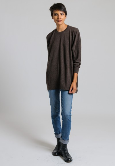 Hania Cashmere Oversized Crew Neck Sweater in Porcupine