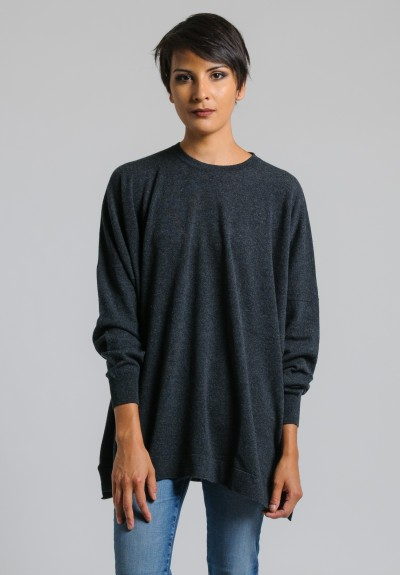 Hania Cashmere Oversized Crew Neck Sweater in Charcoal