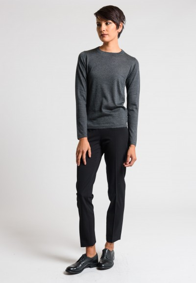 Brunello Cucinelli Cashmere/Silk Crew Neck Sweater in Charcoal