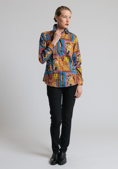 Etro Patterned Button-Down Shirt in Orange