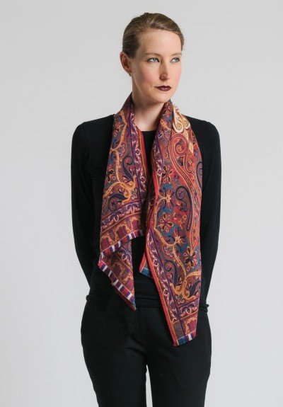 Etro Wool/Silk Paisley Scarf in Rust