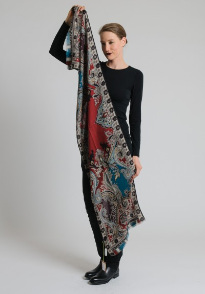 Etro Cashmere/Silk Long Paisley Scarf in Crimson/Teal