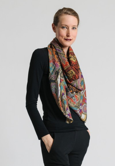 Etro Wool/Silk Large Square Paisley Scarf in Rust