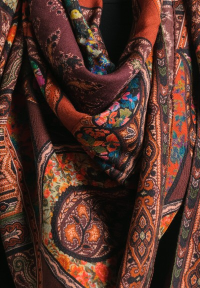Etro Cashmere/Silk Large Square Paisley & Floral Scarf in Chocolate/Sienna