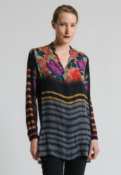 Etro Long Floral & Striped Top in Black