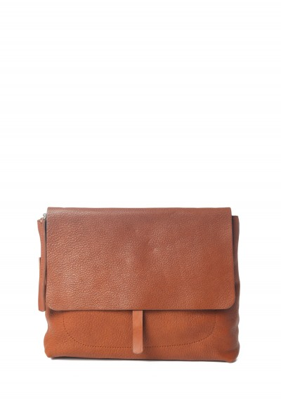 Massimo Palomba Robin Goat Leather Fold Over Satchel in Cuoio