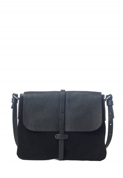 Massimo Palomba Zaza Suede & Leather Satchel in Black