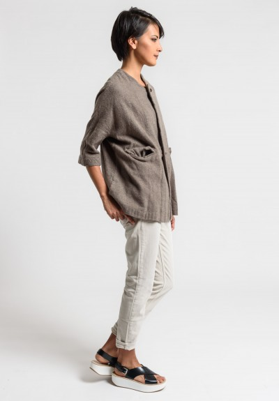 Daniela Gregis Washed Cashmere Jacket in Natural/Brown