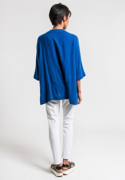 Daniela Gregis Washed Cashmere Jacket in Turquoise/Ink Blue