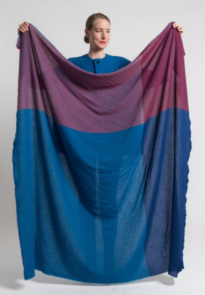Daniela Gregis Large Cashmere Shawl in Blue/Red