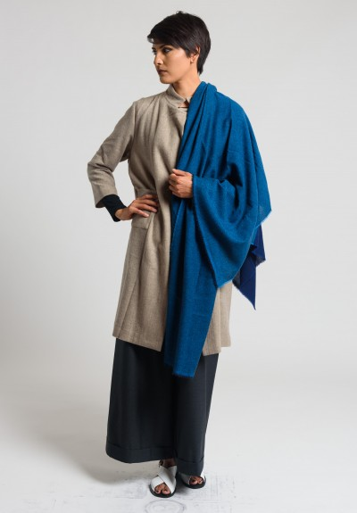 Daniela Gregis Large Cashmere Shawl in Blue