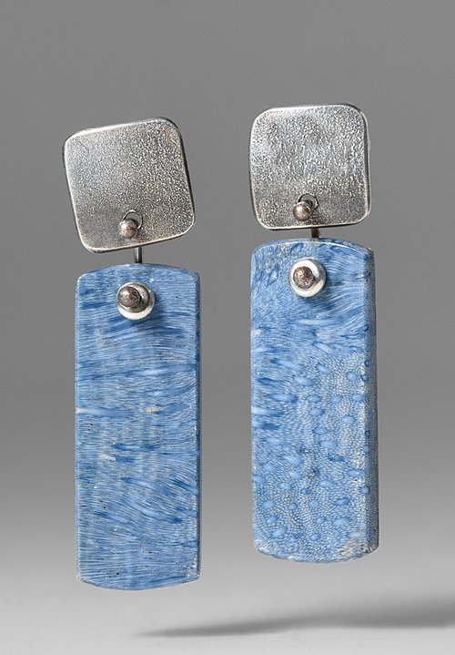 Holly Masterson Rectangular Sponge Coral Earrings