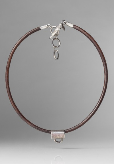 Holly Masterson HOLLY MASTERSON STERLING, BROWN LEATHER ADORNMENT NECKLACE