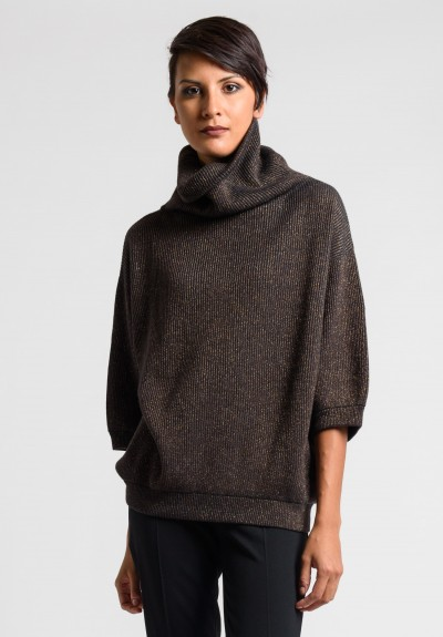 Brunello Cucinelli Ribbed Turtleneck Sweater in Charcoal/Brown