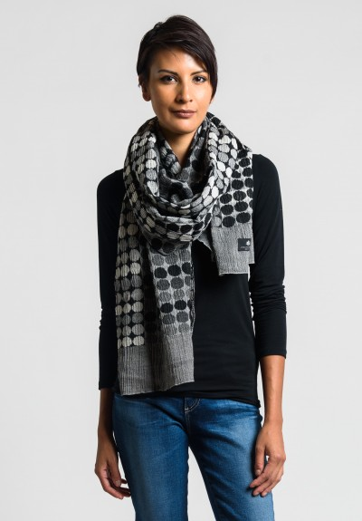 Nuno Circle Bricks Scarf in White/Black