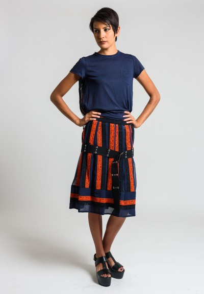 Sacai Calligraphy Embroidered Regimental Skirt in Navy/Orange