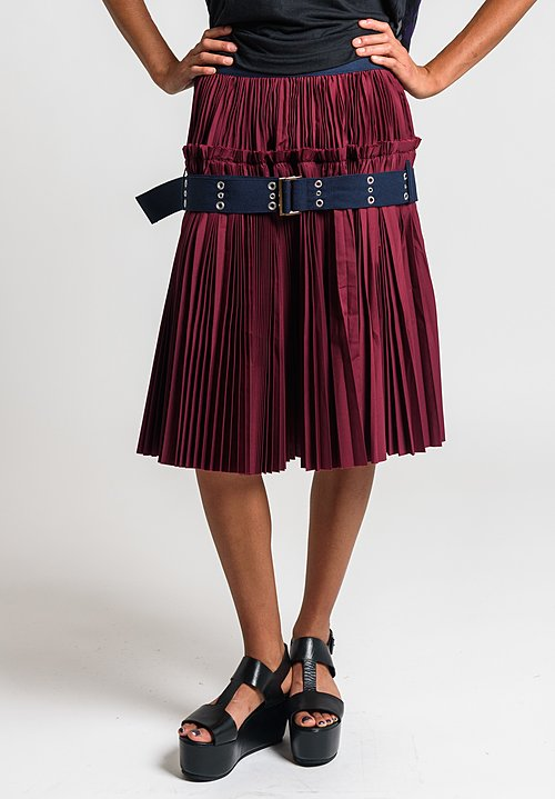 Sacai Classic Shirting Pleated Skirt in Bordeaux