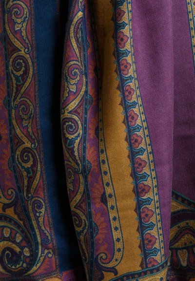Etro Cashmere/Silk Paisley Scarf in Purple Multi