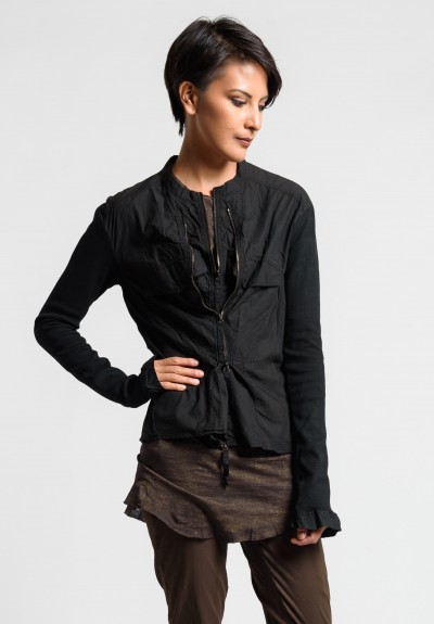 Rundholz Dip Collarless Multi Zipper Jacket in Black Cloud