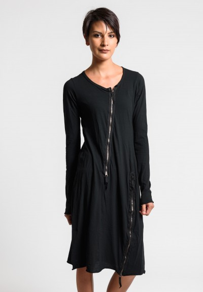 Rundholz Dip Multi Zipper Tulip Dress in Black Cloud