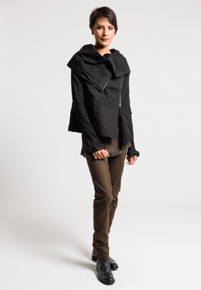 Rundholz Dip Oversized Cowl Neck Jacket in Black Cloud