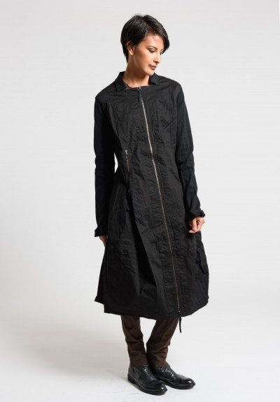 Rundholz Dip Multi Zipper Tulip Jacket Dress in Black Cloud