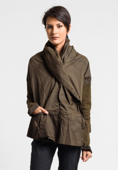 Rundholz Dip Shawl Collar Oversized Jacket in Linoil Cloud