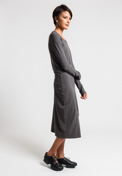 Rundholz Black Label Cotton Asymmetric Tulip Dress in Ash