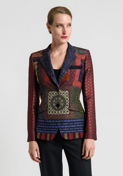 Etro Printed Patchwork Jacquard Jacket in Rich Red Mix