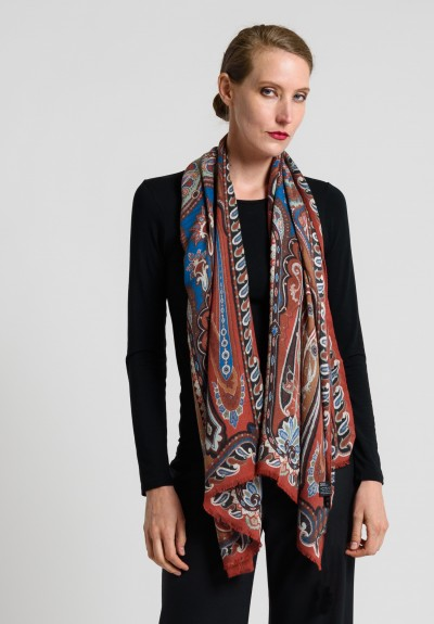 Etro Wool/Silk Paisley Scarf in Natural/Blue