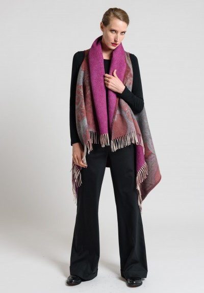 Etro Wool Fringe Paisley Vest in Pink