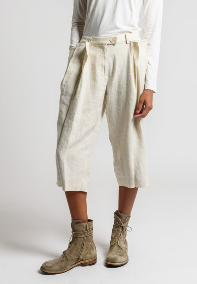 Share Spirit Linen Cropped Pants in Ivory
