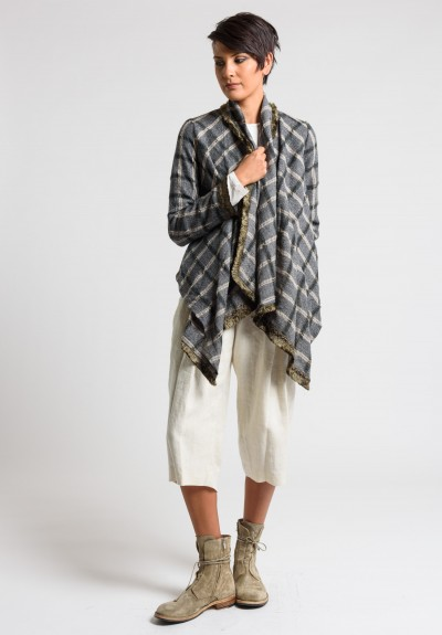 Share Spirit Plaid Shawl Front Jacket in Grey/Beige