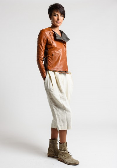 Share Spirit Leather Fitted Jacket in Warm Brown