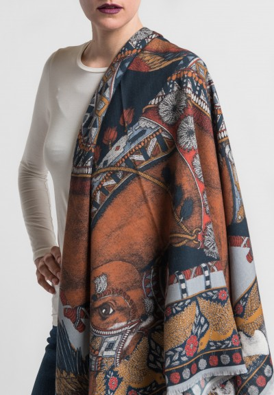 Sabina Savage Ponies and Parrots Scarf in Navy/Chestnut