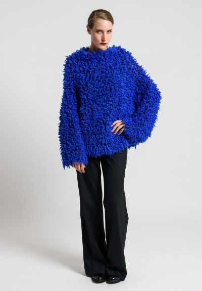 Issey Miyake Oversize Fuzzy Sweater in Electric Blue