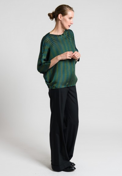 Issey Miyake Square Pleat Dolman Sleeve Top in Teal/Green
