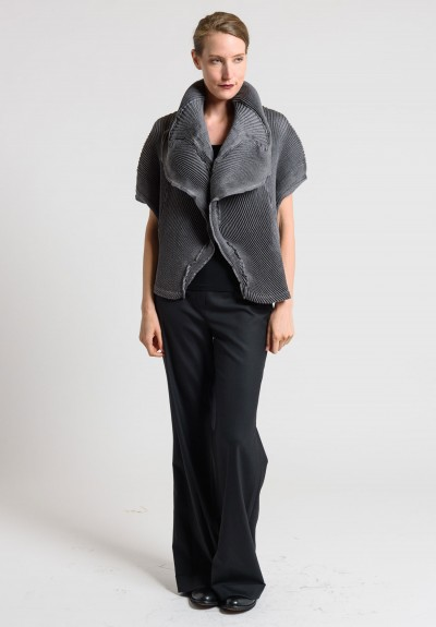 Issey Miyake Short Dolman Sleeve Pleated Jacket in Light Grey