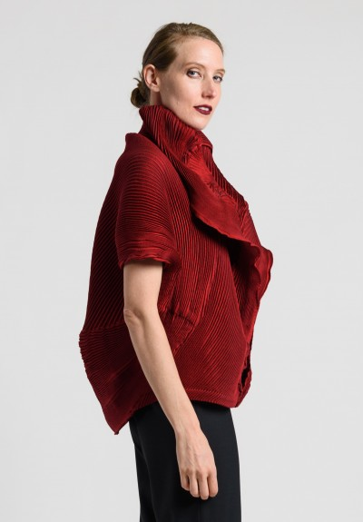Issey Miyake Short Dolman Sleeve Pleated Jacket in Red