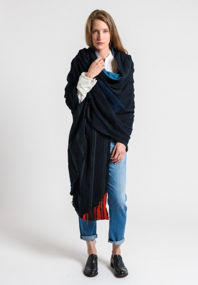 Greg Lauren Striped Blanket Wrap Black/Denim