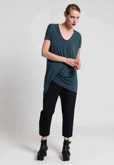 Rick Owens V-Neck Hiked Tee in Teal